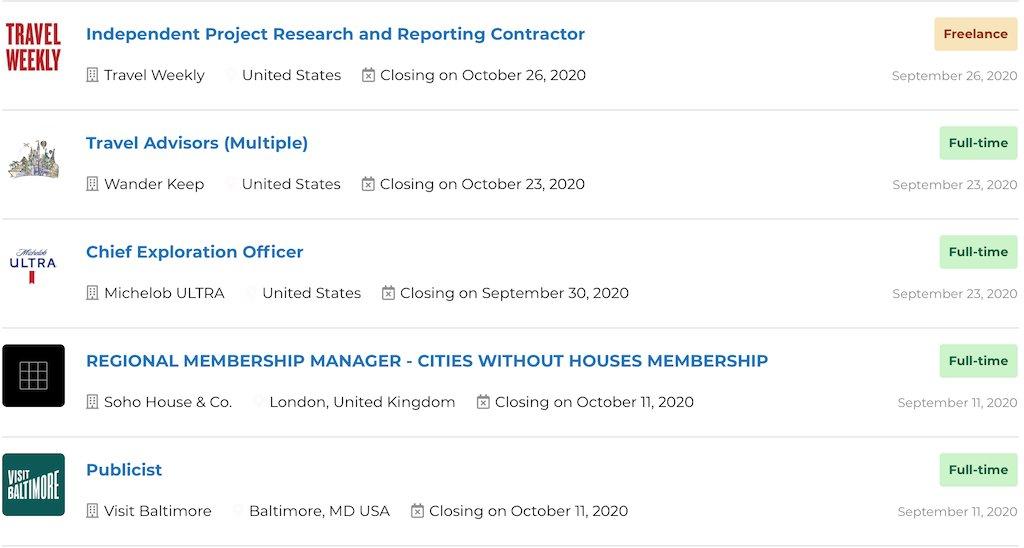 Jobs - September 27, 2020